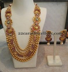 Jewellery Designs: Gold Beads Fancy Long Chain