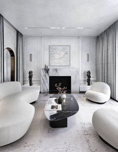 Glamour Living Room, Art Deco Living Room, Living Room White, Sofa Design, Interior Design, Living Room Decor Inspiration, Curved Sofa, White Decor, House Rooms