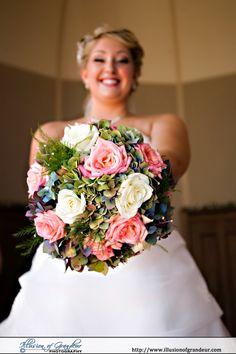 Pink, White and Green bridal bouquet - by Illusion of Grandeur Photography http://www.illusionofgrandeur.com