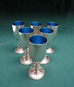 W. S. Blackinton Fine Silver Plate Cordial Wine Goblets w/ Blue Enamel Inside -Six