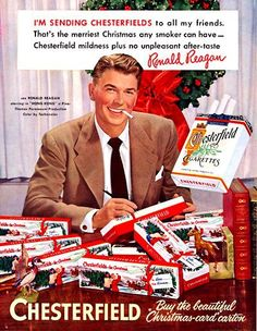 Vintage Chesterfield Cigarette Ad ~ Ronald Reagan