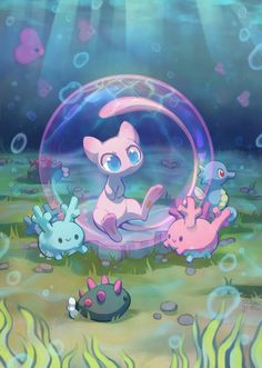 Bubble Mew and water pokemon Corsola Pokemon, Pokemon Fan Art, Pikachu Raichu, Animes Wallpapers, Cute Wallpapers, Mew And Mewtwo, Cute Pokemon Pictures, Cute Pokemon Wallpaper, Cute Drawings