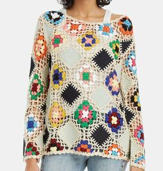 Jersey de desigual Learn To Crochet, Crochet Top, Arya, Hand Knitting, Blouse, Sweaters, Tops, Dresses, Fashion