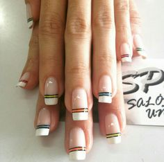 Frensh y lineas de colores Nails Design, Nail Art, Wellness, Health, Perfect Nails, Tips, Vestidos, Colorful Nails, Polish Nails
