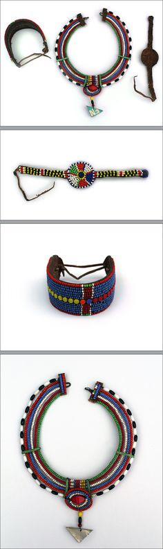 "Traditional jewelry Maasai, Kenya. ""Beadwork became increasingly popular after 1900 when the Maasai began trading with Europeans in nearby ..."