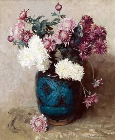 Frans Oerder (1867-1944) - Stil жизнь с хризантемами, холст, масло, 59 х 49 см.