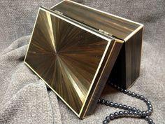 """Boite en marqueterie de paille, design Art Deco """"Soleil"""""""
