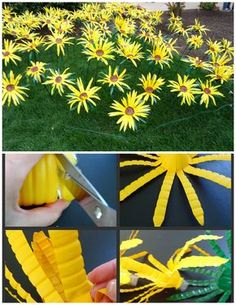 Sonnenblumen bottle crafts Making Sunflowers from Water Bottles - The Make Your Own Zone Water Bottle Flowers, Water Bottle Crafts, Plastic Bottle Art, Recycle Plastic Bottles, Water Bottle Art, Wine Bottle Garden, Plastic Spoons, Plastic Art, Flower Crafts