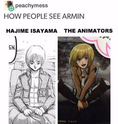 Shingeki no kyojin funny Armin Armin, Levi X Eren, Aot Memes, Funny Memes, Hilarious, Aot Funny, Dark Fantasy, Videos Anime, Attack On Titan Meme