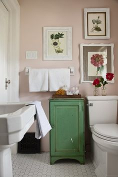 Photographer: Donna Griffith  Source: House & Home June 2011 issue  Products: Toilet, American Standard; frames, vintage; wall colour, Martha Stewart Living Ballet Slipper Pink (MSL033), The Home Depot.