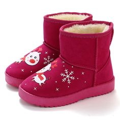 9bbb5b5f173b Unisex Christmas Fawns Snowflake Decor Slip On Warm Lining Snow Boots For  Kids is cheap