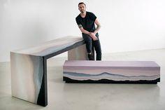 Alışılmadık malzemelerden mobilyalar New Yorklu sanatçı Fernando Mastrangelo, kum, toz cam, kaya parçaları, tuz gibi alışılmadık malzemeleri iç mekanlar için işlevsel nesnelere dönüştürüyor. Kullandığı malzemelerin saf biçimi ve sembolik anlamına sadık kalan tasarımları genellikle minimalist bir yaklaşıma sahip.   #Dekorasyon #Mobilya #Yeşil #Tasarım
