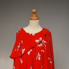Girls Fall dress  red floral ruffle dress  by SchoolHouseFrock, $50.00
