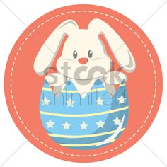 easter bunny in a cracked egg Stock Vector