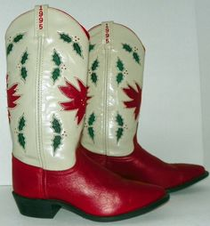 Acme Limited Edition 614 out of 1200 1995 Christmas Holiday Cowboy Boots Sz 7.5 #Acme #CowboyWestern