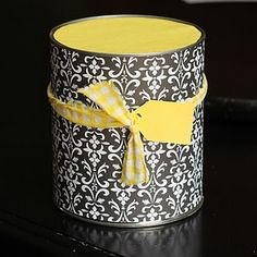 Cover a can and use it like a gift bag or a pencil holder! What a great way to reuse a can! www.scensiblesbags.com