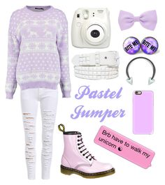 """""""Pastel Jumper"""" by sup-its-alex-peace ❤ liked on Polyvore featuring Boohoo, Fujifilm, Dr. Martens, Accessorize and Casetify"""