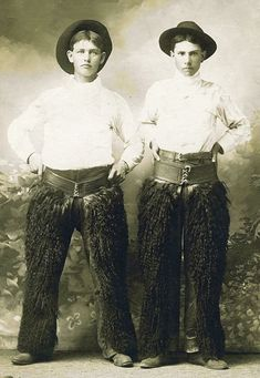 Two Cowboys Wearing Black Wooly Chaps ca 1890s