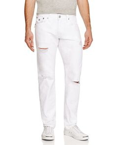 81a1a529430 True Religion Geno Straight Fit Distressed Jeans in White Rapids Jack  Threads