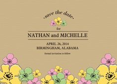 Save the Date Cards, Spring Bower Date Design
