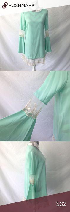 Mint Green Dress w/ Lace Lace trim bell sleeve dress! Mint green! Has flared sleeves! 100% Rayon Fashionomics Dresses