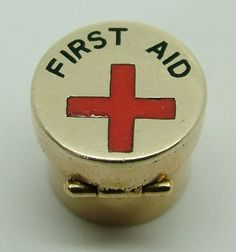 1950's 9ct Gold & Enamel Opening First Aid Canister Charm