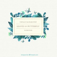 Folhas da aguarela e fundo borboleta