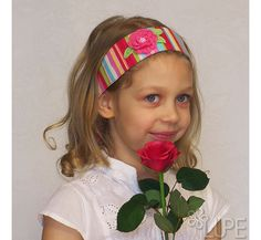 Girl head band cotton fabric pink blue green white by Lupeworks, $18.00