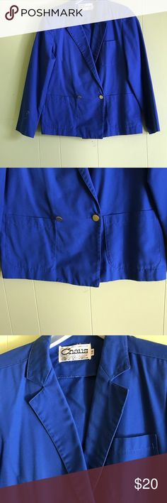 "Vtg royal blue ladies double breasted blazer s 7/8 This Vtg royal blue ladies double breasted blazer  is a fashion statement in itself.  The intense color of the blue will make you stand out in any crowd. Size 7/8 it measure 15 from shoulder to shoulder. Is 25"" long, 15"" at bustline and has sleeve length of 33"". Preowned but in excellent condition. Proceeds from this closet support Project Hope a ministry to single moms and their children. Chaus Jackets & Coats Blazers"