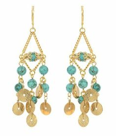 "Rachel Reinhardt ""Kate"" 14k Gold Plated Elegant Chandelier Dangle Earring with Blue Turquoise and Textured Gold Disk Dangles Rachel Reinhardt. $54.95. These hang 3 inches with leverbacks.. Dramatic Colorful Earrings. Genuine Gemstones. 14k Gold Plated chandelier dangle earrings with turquoise beads with textured gold disk dangles. Designed by Rachel Reinhardt and made in the USA. Save 27% Off!"