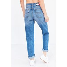 Tommy Jeans For UO 90s Mid-Rise Mom Jean ($139) ❤ liked on Polyvore featuring jeans, faded denim jeans, blue jeans, faded blue jeans, straight leg jeans and tommy hilfiger