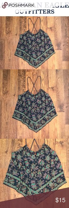 American Eagle Bandana Tank Top • American Eagle • Size: Large • Bandana Style Tank Top • Paisley Pattern • 50% Polyester 50% Rayon • Bralette Lining in Top • Open to All Offers! • American Eagle Outfitters Tops Tank Tops