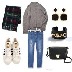 スニーカーコーデ。 stylist:marico denim sneaker black knit grey ponte fashion outfits coordinate