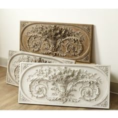 A detailed relief of a Parisian architectural find. Its hand finishing gives lightweight urethane an aged look. Grande Bouquet Plaque features: Rubbed White finish with wood accents Covered outdoor only Casa Magnolia, White Washed Oak, Decorative Accessories, Decorative Boxes, Decorative Accents, Tuscan Decorating, Decorating Ideas, Wall Decor, Room Decor