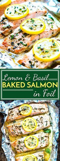 Lemon Baked Salmon in Foil Basil & lemon baked salmon in foil is a healthy and easy way to make a low-carb, Paleo and gluten-free dinner for the whole family. This seafood recipe is a quick meal full of and healthy fats. Healthy Salmon Recipes, Fish Recipes, Seafood Recipes, Healthy Dinner Recipes, Paleo Recipes, Paleo Dinner, Healthy Dinners, Baking Recipes, Seafood Appetizers