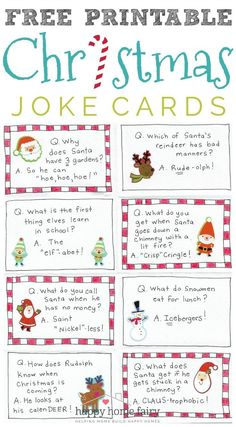 - Happy Home Fairy Christmas Joke Cards - FREE Printable! - Happy Home Fairy,Christmas Joke Cards - FREE Printable! - Happy Home Fairy, Personalized Scrabble Letter Ornaments- cute . Christmas Jokes For Kids, Funny Christmas Jokes, Christmas Party Games, Christmas Quotes, Christmas Activities, Christmas Humor, Holiday Fun, Christmas Holidays, Christmas Crafts