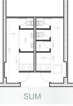 Baño Publico Medidas Minimas:los baños de distribución simétrica se organizan en base a una