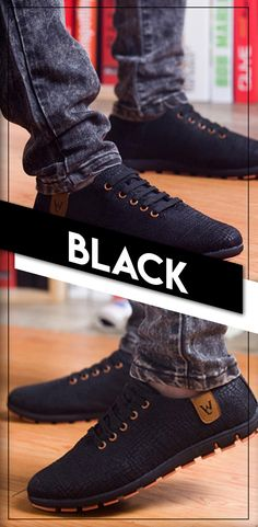Men's stylish casual breathable canvas shoes - Men's black fashion low lace up shoes - Affordable luxury style #mensshoes #menstyle
