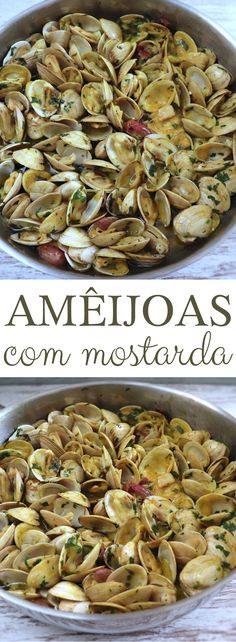 Do you have visits at home and want to prepare something special to snack before lunch? This recipe of clams with mustard is perfect for the occasion! It's simple, quite tasty and has excellent presentation! Clam Recipes, Top Recipes, Unique Recipes, Fish Recipes, Seafood Recipes, Asian Recipes, Yummy Appetizers, Appetizer Recipes, Dessert Recipes