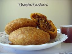 Khasta Kachori is a deep fried snack of North India. These kachoris are given a spicy moong dal filling. Khasta means flaky. Rajasthani Food, Rajasthani Recipes, Soul Food, Indian Food Recipes, Spicy, Appetizers, Vegetarian, Snacks, Vegan