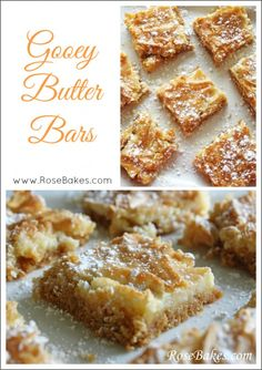 Gooey Butter Bars super easy dessert perfect for any holiday party Mini Desserts, Easy Desserts, Delicious Desserts, Yummy Food, Health Desserts, Dessert Crepes, Dessert Bars, Churros, Cake Mix Bars