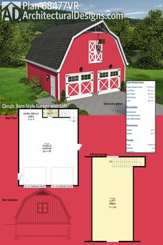 Architectural Designs Classic Barn Style Garage with Loft 68477VR has room for 2 cars on the main level with a workbench area and half bath complete with loft area above. Ready when you are. Where do YOU want to build?