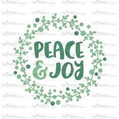 Peace and Joy SVG Christmas wreath svg Christmas Laurel svg