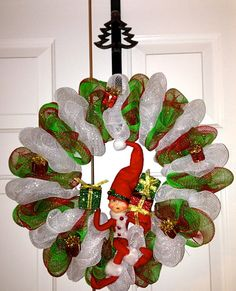 Annalee Doll Christmas Deco Mesh Wreath. Makes a great gift! on Etsy, $75.00