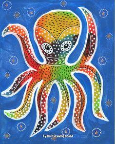 Octopus, Octopus Art, Octopus Print, Octopus Artwork, Octopus Art Print, Mexican Art, Mexican Folk Art, Animal Art, Animal Artwork, Pulpo by Lydiasdrawingboard on Etsy