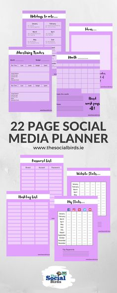 Get our 22 page Social Media Planner to get your marketing efforts organised! Track hashtags, passwords, website statistics, social media statistics, Facebook ads and more! Get your Social Media Kit today and see your engagement soar #thesocialbirds #printableplanner #digitaldownload