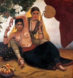 "Eduardo Chicharro y Agüera, Madrid (1873-1949). Spanish painter. ""Bayaderas indias"" (1906). Oil on Canvas. 140x149cm. Private Collection."