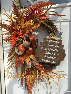 Fall Wreaths for front door, Autumn wreath, Fall grapevine wreath, Oval grapevine wreath, Fall pumpkin wreath Easy Fall Wreaths, Thanksgiving Wreaths, Thanksgiving Decorations, Christmas Wreaths, Wreath Fall, Fall Decorations, Christmas Planters, Thanksgiving Games, Spring Wreaths