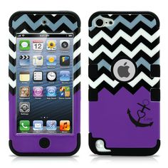 iPod Touch 5 Case, iPod Touch 6 Case, MagicMobile [Armor Shell Series] Double Layer Cover [Hard Shield] + [Flexible Silicone] Hybrid Case for Apple iPod Generation [Impact Shock Resistant] / [Chevron Pattern with Heart Anchor Design Color: Black - Purp Cute Ipod Cases, Ipod Touch Cases, Ipod Touch 6th, Iphone Cases, Iphone Phone, Coque Ipod, Walpaper Black, Diy Phone Case, 6 Case