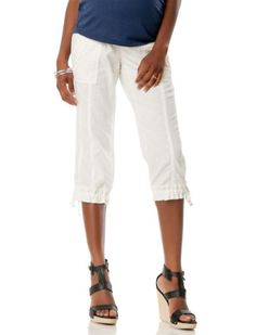 25e6539190892 A Pea in the Pod: Secret Fit Belly(r) Linen Button Detail Maternity Crop  Pants - Listing price: $79.50 Now: $59.99